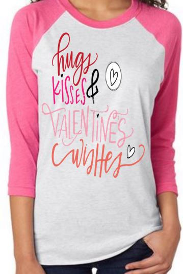 raglan sleeve valentines day shirts hugs kisses valentine wishes many colo - Valentine Day Shirts