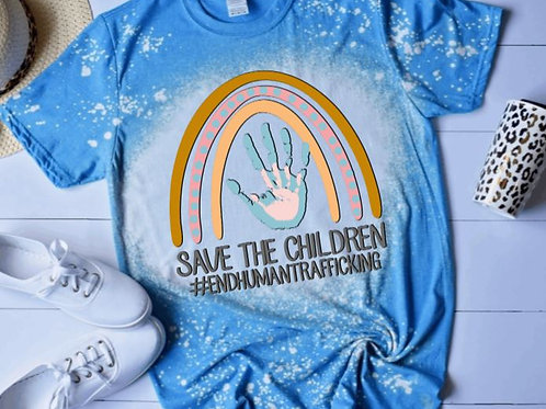 BLEACHED TEE Short or Long Sleeve Save the Children Handprint