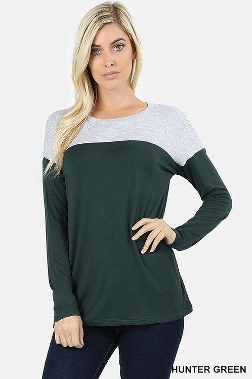 Long Sleeve Drop Shoulder Contrast Yoke Shirt Hunter/Htr Grey