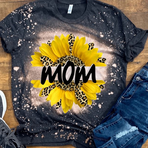 BLEACHED TEE Short or Long Sleeve Mom Yellow Leopard Sunflower