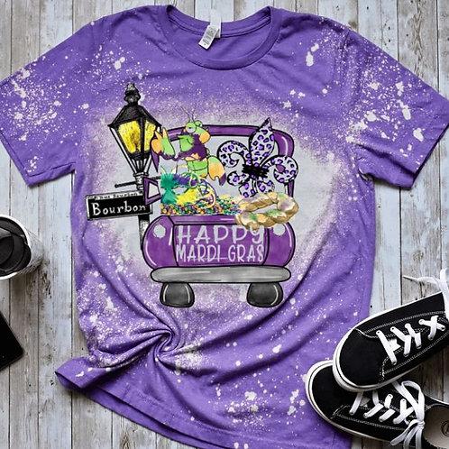 BLEACHED TEE Short or Long Sleeve Happy Mardi Gras Purple Truck
