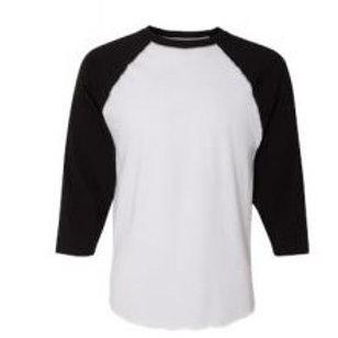 LAT Unisex 3/4 Sleeve Raglan Tee Black/White