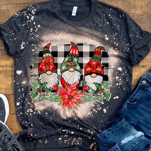 BLEACHED TEE Short or Long Sleeve Christmas Gnomes