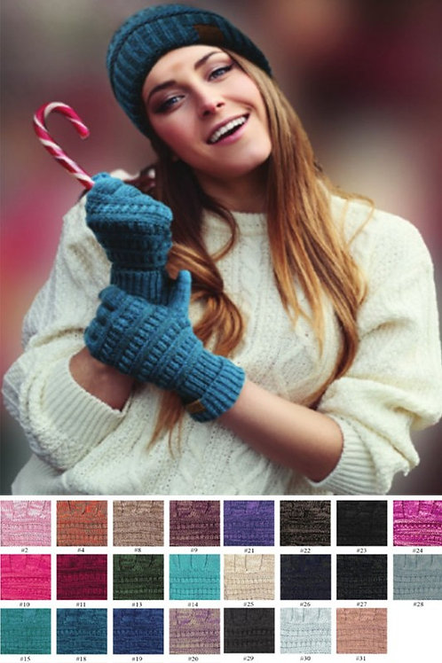CC Knitted Two Tone Touch Screen Compatible Gloves Many Colors