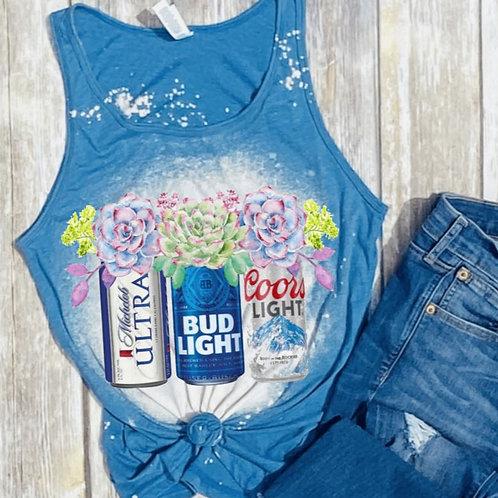 BLEACHED TANK TOP or TEE Beer with Flowers
