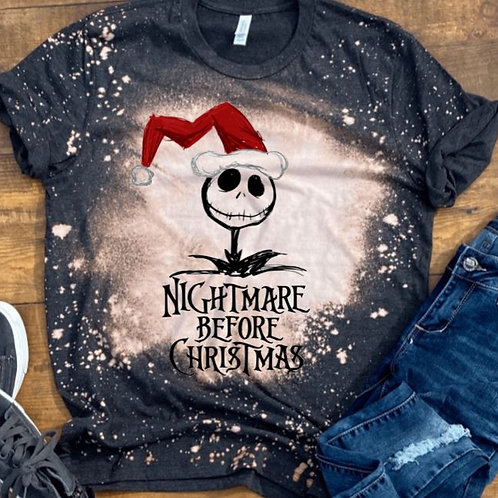 BLEACHED TEE Short or Long Sleeve Nightmare Before Christmas