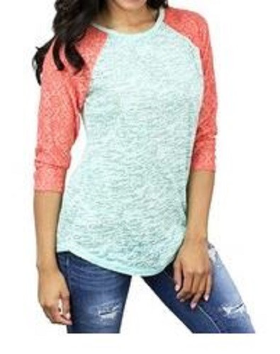 fb22a077 Burnout Baseball 3/4 Sleeve Raglan Shirt with Lace Sleeves Color: Coral/Mint  (other colors available) Comes in Sizes: Adult Sizes: Small, Medium, Large,  ...