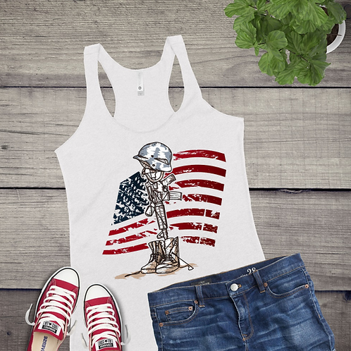 Tank Top GRAPHIC SUBLIMATED SHIRT Soldier and Flag
