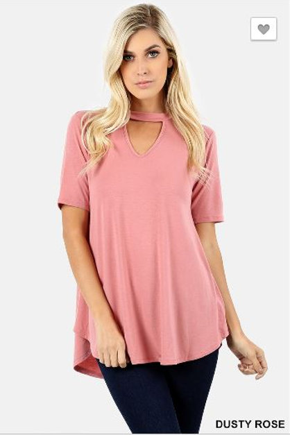 Choker Neck Round Hem Top Short Sleeve Shirt Dusty Rose