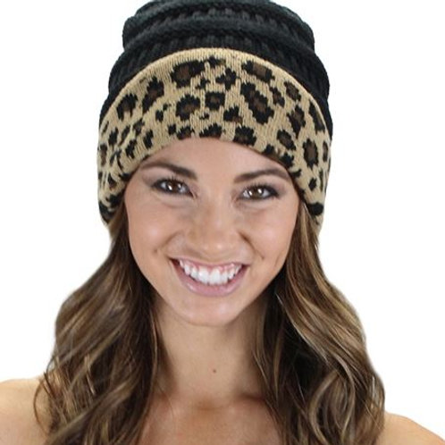 Leopard Beanie Black