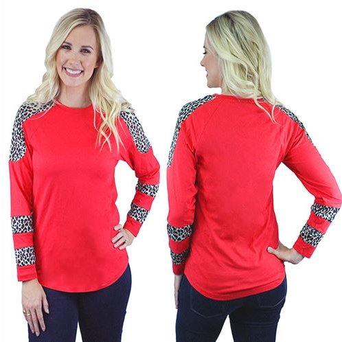 Leopard Long Sleeve Print Top Sizes S, M, L, XL, 2XL, 3XL Red