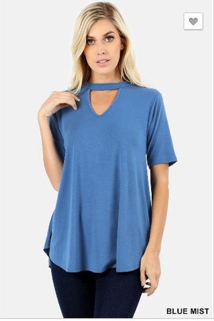 Choker Neck Round Hem Top Short Sleeve Shirt Blue Mist