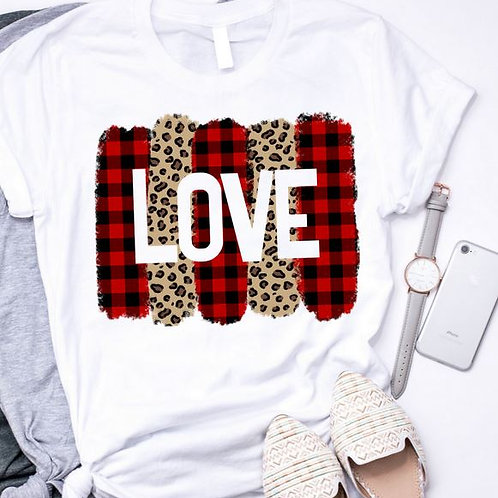 SUBLIMATED TEE Short or Long Sleeve Valentine's Love Brushstroke Plaid Leopard