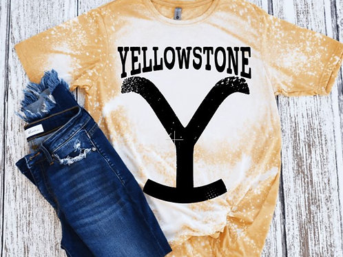 BLEACHED TEE Short or Long Sleeve Yellowstone Large Y