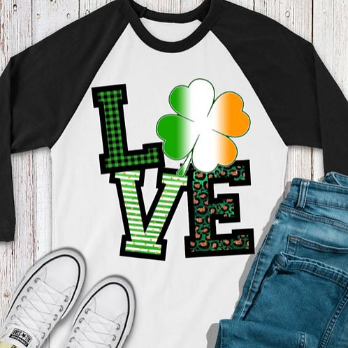 SUBLIMATED TEE RAGLAN St. Patty LOVE Ireland Shamrock