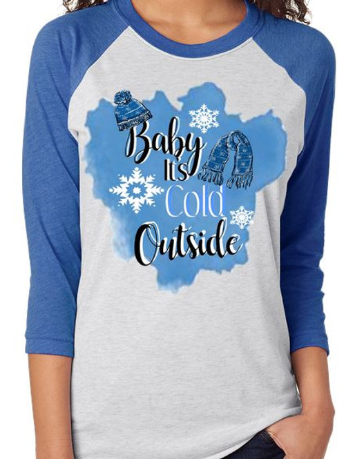 SUBLIMATED TEE Baby Its Cold Outside Watercolor