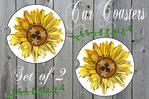 SUBLIMATED Car Coasters Set of 2 Rubber or Sandstone Tennessee Sunflowers