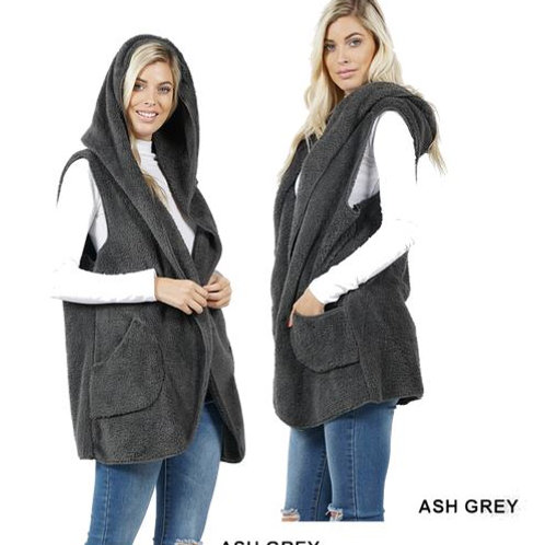 Faux Fur Hoodie Vest with Side Pockets Ash Grey