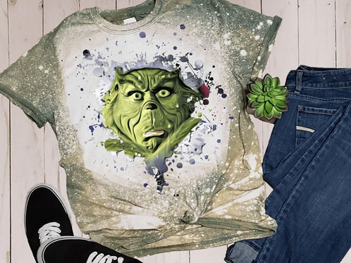 BLEACHED TEE Short or Long Sleeve Christmas Grinch Face