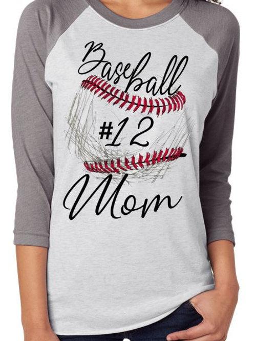SUBLIMATED RAGLAN Baseball Mom Sketch