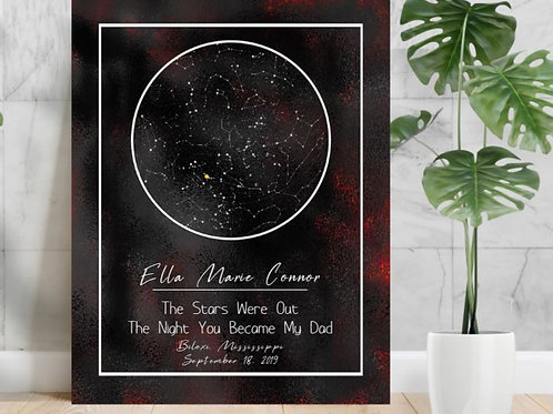 SUBLIMATED HD Aluminium Panel Star Map Personalized ANY EVENT Black