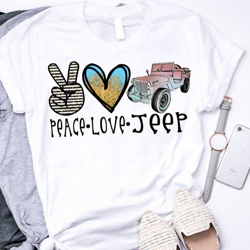 SUBLIMATED TEE Short or Long Sleeve Peace Love Jeep