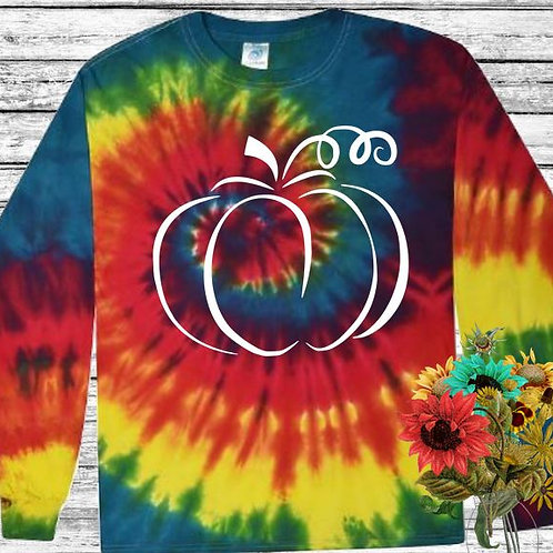 Graphic Tie Dye TEE Long Sleeve Pumpkin Outline in White MANY COLORS