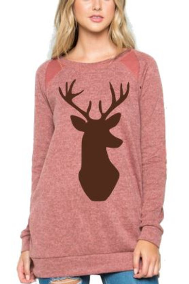Brushed Knit Elbow Patched Long Sleeve Tunic Christmas Deer Mauve
