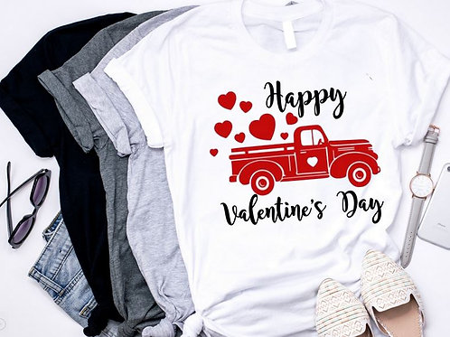 SUBLIMATED TEE Short or Long Sleeve Happy Valentines Day Red Truck