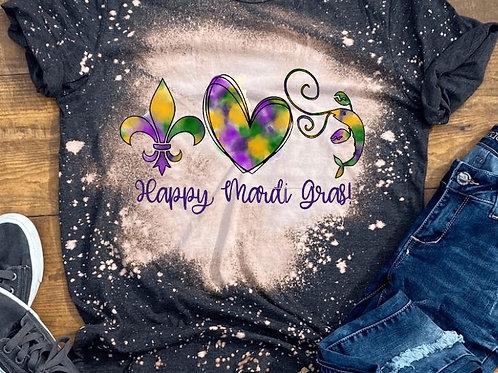 BLEACHED TEE Short or Long Sleeve Mardi Gras Fleur de lis Heart Crawfish