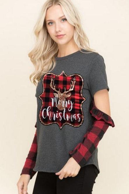 CHRISTMAS SHIRT Buffalo Red Plaid Ext Sleeve Merry Christmas Deer Grey