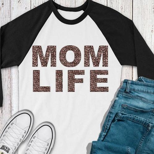 SUBLIMATED TEE RAGLAN Mom Life Leopard Rose Gold