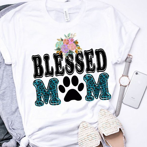 SUBLIMATED TEE Short or Long Sleeve Dog Mom Blessed Dog Mom Teal Leopard