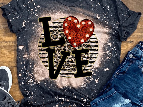 BLEACHED TEE Short or Long Sleeve Valentine LOVE Black Stripe Circle