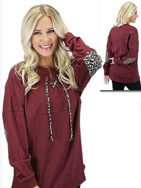 Leopard Lace Up Spirit Jersey with Elbow Patches Maroon