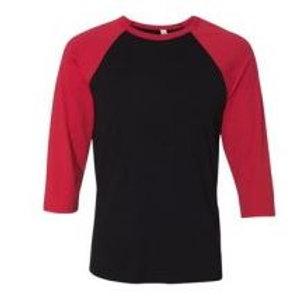 Bella & Canvas Unisex 3/4 Sleeve Raglan Tee Red/Black