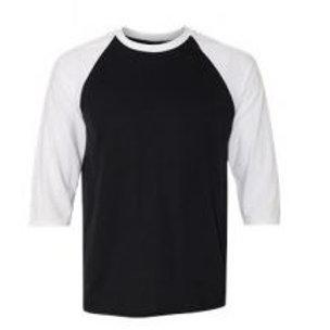 Anvil Unisex 3/4 Sleeve Raglan Tee White/Black