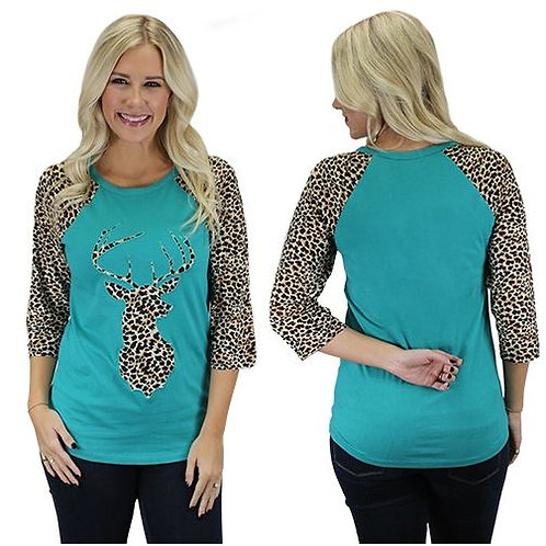 Deer Raglan Sleeve Leopard Print Shirts Turquoise