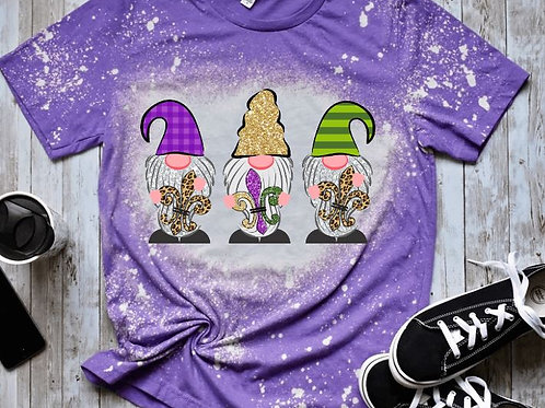 BLEACHED TEE Short or Long Sleeve Mardi Gras 3 Gnomes