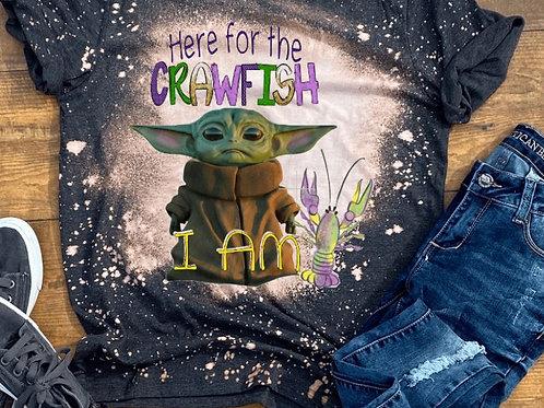 BLEACHED TEE Short or Long Sleeve Mardi Gras Crawfish Yoda