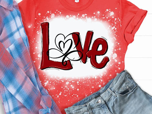 BLEACHED TEE Short or Long Sleeve Valentine Love Open Heart Red