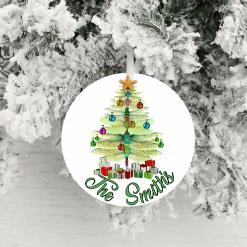 SUBLIMATED Christmas Ornament - Christmas Dragonfly ANY NAME