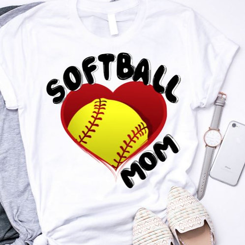SUBLIMATED TRANSFER ONLY Softball Mom Large Heart