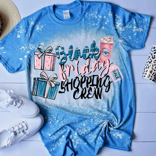 BLEACHED TEE Short or Long Sleeve Black Friday Shopping Crew Pink Blue