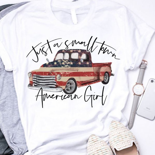 SUBLIMATED TEE Short Sleeve or Tank Small Town American Girl Flag Truck
