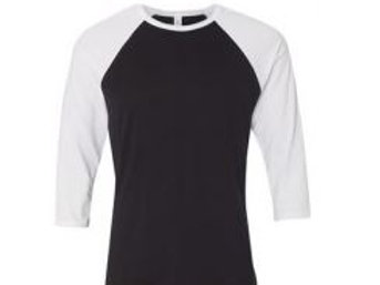 Bella & Canvas Unisex 3/4 Sleeve Raglan Tee White/Black