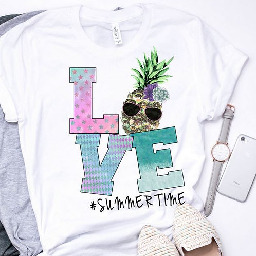 SUBLIMATED TRANSFER ONLY LOVE Summertime Pineapple