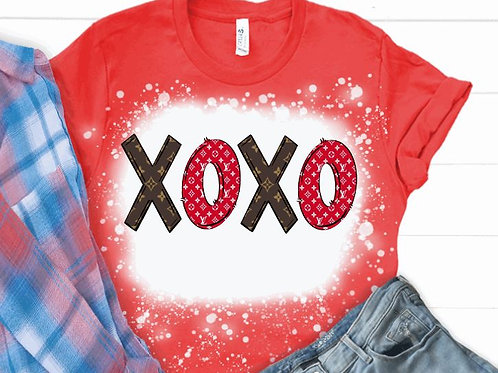 BLEACHED TEE Short or Long Sleeve Valentine XOXO LV Brown Red