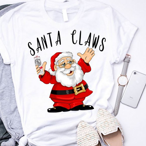 SUBLIMATED TEE Short or Long Sleeve Santa Claws
