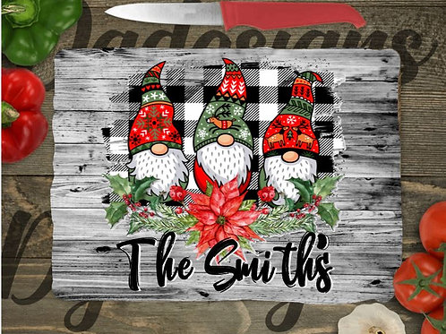 SUBLIMATED Glass Cutting Board SMALL or LARGE Christmas Gnomes